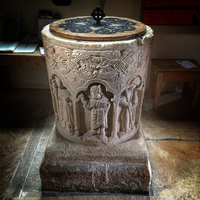 Norman Font, St Peter's Church, Southrop, Gloucestershire, UK
