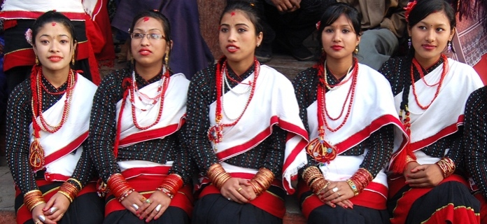 Kathmandu Newari girls in traditional costume