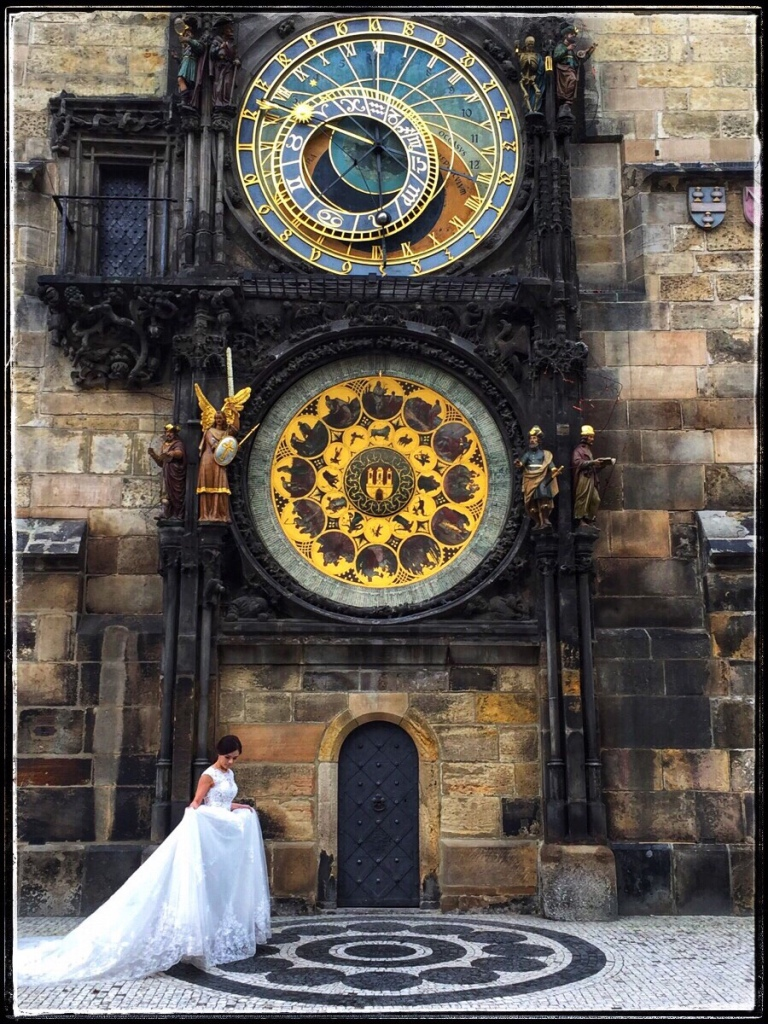 Prague wedding and astronomical clock