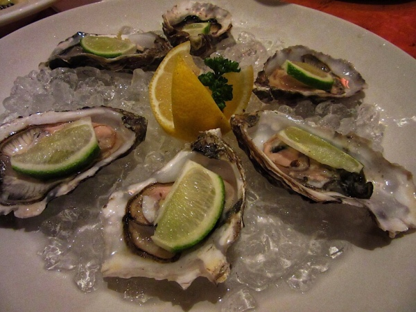 Irish oysters in Cafe Rogano, Glasgow