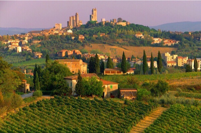 Village of Vernaccia di San Gimignano, Tuscany at sunrise
