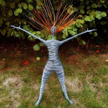 Wire human form sculpture at Bothy Vineyard, Oxfordshire, sculpture in the vineyard