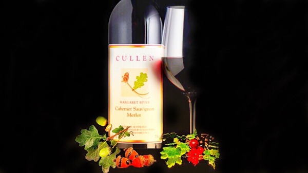 Bottle of Cullen Margaret River Cabernet Sauvignon Merlot with leaf and cassis notes