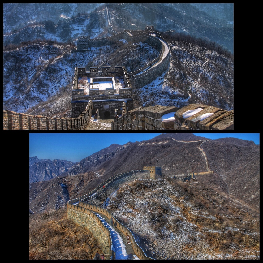 The Great Wall of China in winter snow