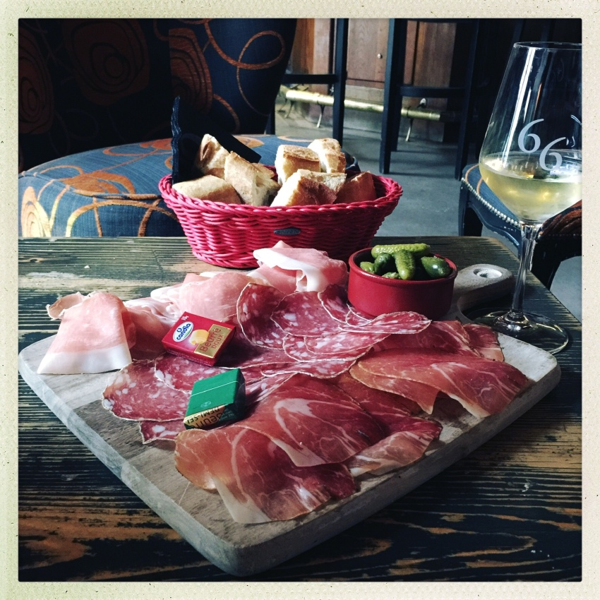 Plate of charcuterie at Bar 66, Beaune, France