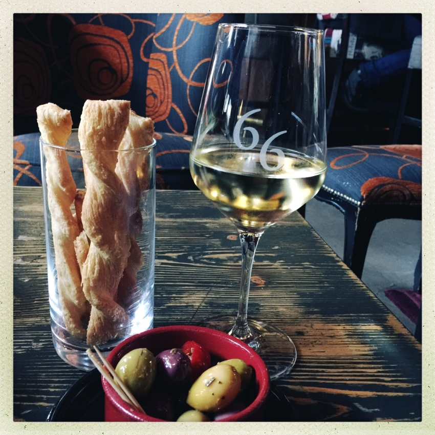 A glass of Rully at Bar 66, Beaune, France