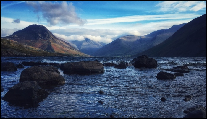 Birdseye view of Wastwater with Great Gable under cloud