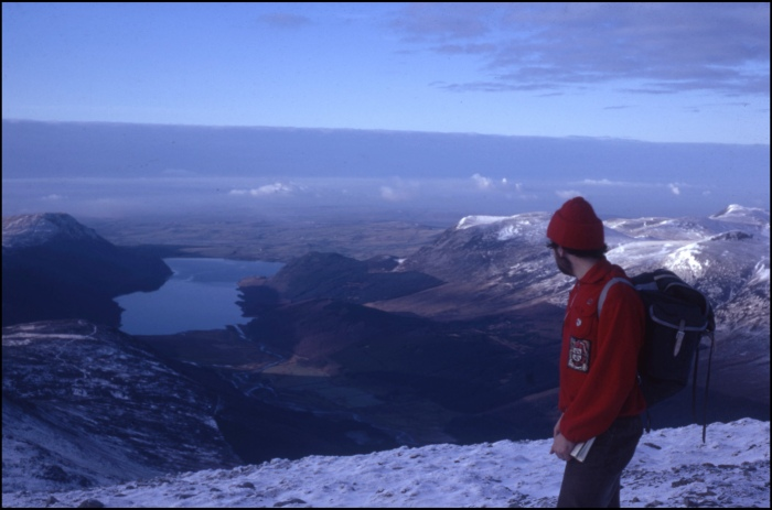 On the summit of Great Gable, looking down to Wastwater January 1971
