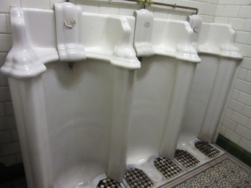 Classical urinals in a Brussels brasserie