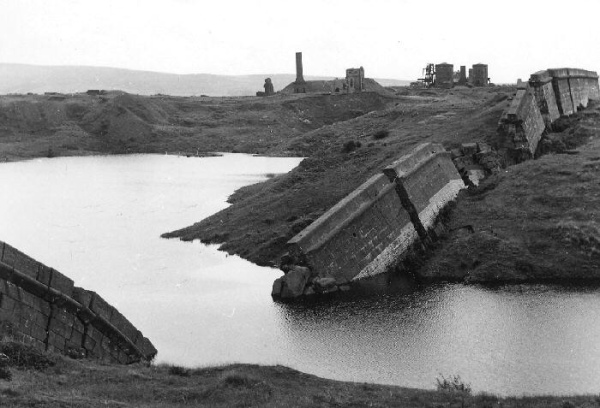 The collapsed old sea wall at Hodbarrow mine
