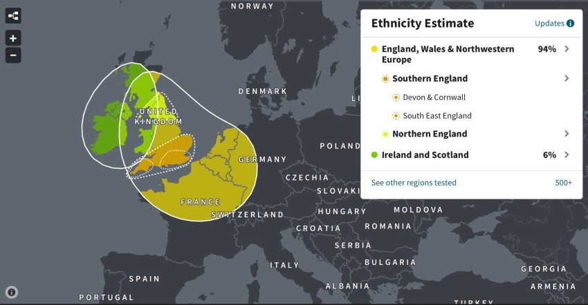 DNA test results ethnic profile