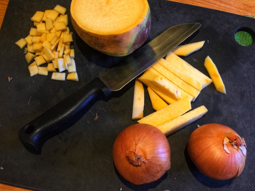 Chop the vegetables finely for a Cornish pasty