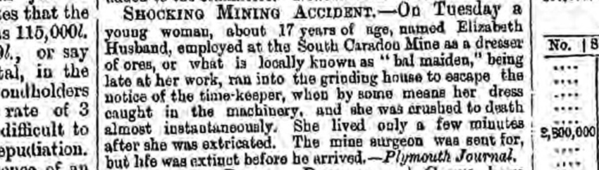 Bal Maiden mining accident March 1862