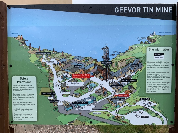 Outline map of the Geevor tin mine, Cornwall